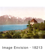 #18213 Photo Of Chatelard Castle In Montreux On Geneva Lake Switzerland