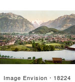 #18224 Photo Of The Village Of Interlaken And Jungfrau Mountain Bernese Oberland Switzerland