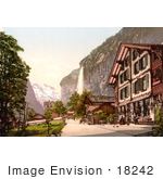 #18242 Photo Of A Street Scene And Staubbach Falls In Lauterbrunnen Interlaken Bernese Oberland Switzerland