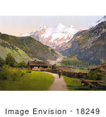 #18249 Photo Of A Man On A Path By Chalet Buildings View Of Blumlisalp Bernese Oberland Switzerland