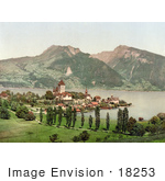 #18253 Photo Of The Village Of Spiez And Lake Thun Niedersimmental Bernese Oberland Switzerland