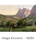 #18254 Photo Of The Village Of Grindelwald Near The Wetterhorn Mountain Interlaken Berne Switzerland