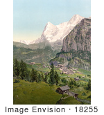 #18255 Photo of the Village of Murren With Eiger and Monch Mountains, Bernese Oberland, Switzerland by JVPD