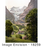 #18259 Photo Of The Church In Grindelwald Eiger Mountain In The Background Bernese Oberland Switzerland