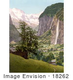 #18262 Photo Of Lauterbrunnen And Staubbach Falls Interlaken Berne Bernese Oberland Switzerland
