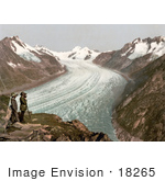 #18265 Photo Of Men Viewing Grand Aletsch Glacier Switzerland