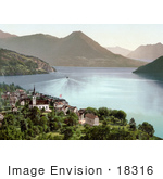 #18316 Photo Of A Steamboat On Lake Lucerne Near Vitznau In Switzerland