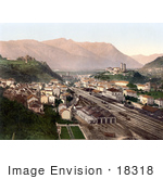 #18318 Photo Of Railroads In The City Of Bellinzona Lugano Ticino Tessin Switzerland
