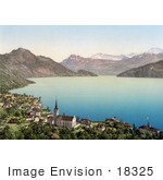 #18325 Photo Of The Village Of Weggis On Lucerne Lake Switzerland