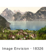 #18326 Photo Of The Village Of Sisikon On Lake Lucerne Switzerland