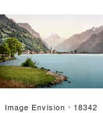 #18342 Photo Of Fluelen On The Shore Of Lake Lucerne Uri Switzerland