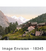 #18345 Photo Of Chalet Buildings Staffel Alp And Rimpfischhorn Valais Switzerland