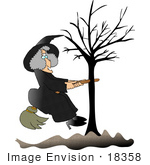 #18358 Witch Woman With Her Broom Stick Stuck In A Bare Tree Clipart