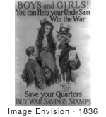 #1836 Uncle Sam With Boy And Girl