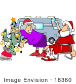 #18360 Retired Couple And Their Dog Celebrating Christmas In The Desert Beside Their Motor Home Clipart