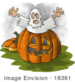 #18361 Man Dressed As A Ghost Jumping Out Of A Pumpkin To Scare Trick Or Treaters On Halloween Clipart