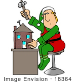 #18364 Santa'S Elf Nailing A Doll House Together In A Workshop Clipart