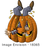 #18365 Man Stuck Upside Down In A Carved Halloween Pumpkin Clipart