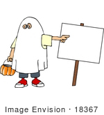 #18367 Child In A Ghost Halloween Costume Trick Or Treating And Pointing To A Blank Sign Clipart