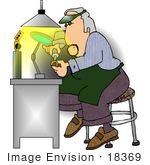 #18369 Jeweller Man Making A Ring Clipart
