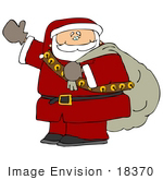 #18370 Santa Carrying A Sack Over His Shoulder And Waving Clipart
