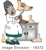#18372 Female African American Podiatrist Or Prosthetic Doctor Inspecting Feet Clipart