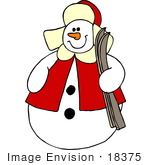 #18375 Christmas Snowman Carrying Skis Clipart by DJArt