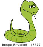 #18377 Coiled Green Snake Clipart
