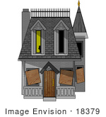 #18379 Ghost Appearing In A Window Of A Condemned And Boarded Up Haunted Victorian House Clipart