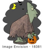 #18381 Ghoul Carrying A Pumpkin Under A Crescent Moon And Vampire Bats On Halloween Clipart