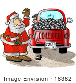 #18382 Santa Preparing a Load of Coal For Bad Boys and Girls on Christmas Clipart by DJArt