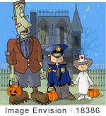 #18386 Frankenstein Trick Or Treating With Children In Police And Nurse Costumes Standing By A Condemned Haunted House Clipart