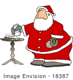 #18387 Chubby Santa Eating Milk And Cookies Clipart