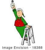 #18388 Santa'S Elf Standing On A Ladder Changing A Lightbulb Workshop Clipart