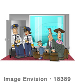 #18389 Airplane Passengers And Pilots With Luggage At The Airport Clipart