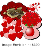 #18390 Flowers Chocolates And Hearts On Valentines Day Clipart