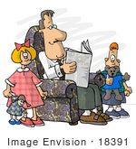 #18391 Father Reading a Newspaper, His Son and Daughter Playing Toys Clipart by DJArt