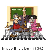 #18392 Middle Aged Male And Female College Students Completing Tests Being Watched By A Professor Clipart