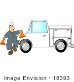#18393 Male Construction Worker Setting Out Saftey Cones Around A Truck Clipart
