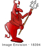 #18394 Evil Devil Smiling And Holding A Pitchfork Clipart
