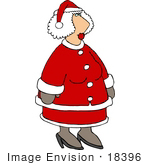 #18396 Mrs Claus In A Red Suit Clipart