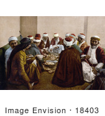 #18403 Photo Of A Group Of Israelite Men Eating Mount Carmel Holy Land Israel