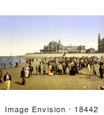 #18442 Photo Of People On The Beach By The Kursaal Ostend Belgium