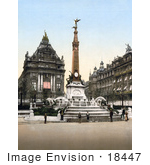 #18447 Photo Of Brouckere Place And Anspach Monument Brussels Belgium