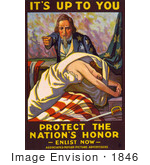 #1846 Stock Illustration of Uncle Sam Pointing Over A Woman In A White Dress, Stretching Over An American Flag by JVPD
