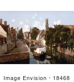 #18468 Photo Of A Boat On A Canal By A Bridge And Buildings Bruges Belgium