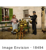 #18494 Photo Of A Female Milk Vendor With Dogs Brussels Belgium