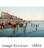 #18504 Photo Of Hotels People And Carts On The Beach At Blankenberghe Belgium