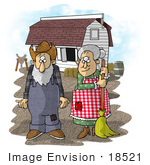#18521 Senior Farmer Man and Wife by a Barn on a Farm Clipart by DJArt