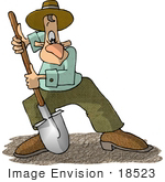 #18523 Caucasian Man Using A Shovel To Dig Up Dirt Clipart